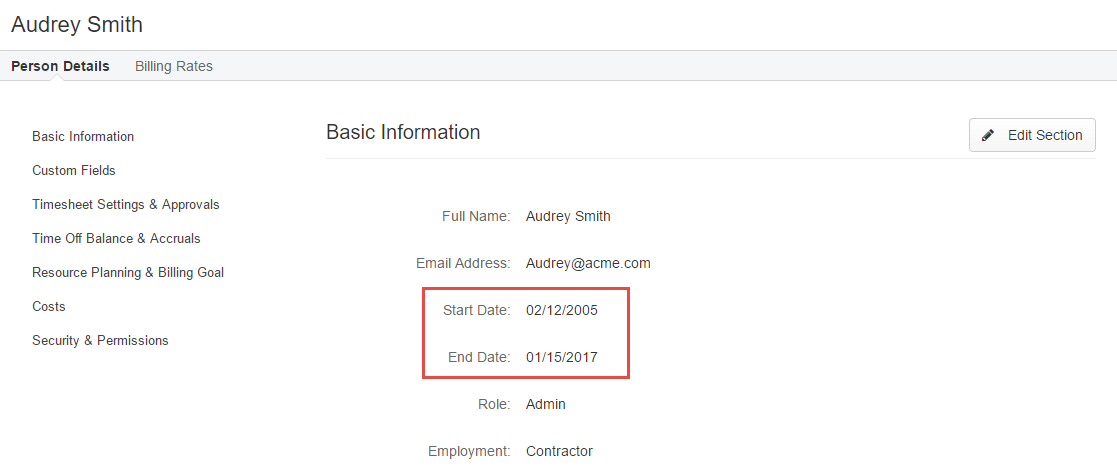 unable to load timesheet or log hours due to start end dates