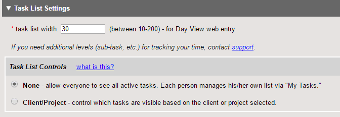 project task and leave type settings and availability clicktime