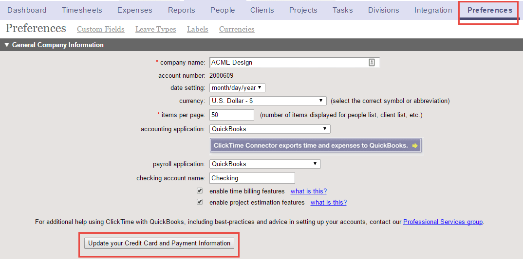 Managing Your ClickTime Account ClickTime Support - Quickbooks invoice credit card payment